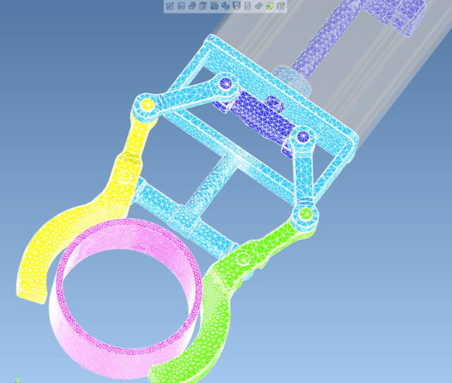 Mixed rigid body and finite element grabbing arm stress analysis. (Image courtesy of IronCAD.)