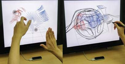 Creating air scaffolds (left) and sketching details with a pen (right). (Image courtesy of Kim et. al.)