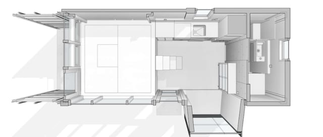 Autodesk model of a shipping-container home. Autodesk is one of the major players involved in the business of designing modular housing. (Image courtesy of Autodesk.)