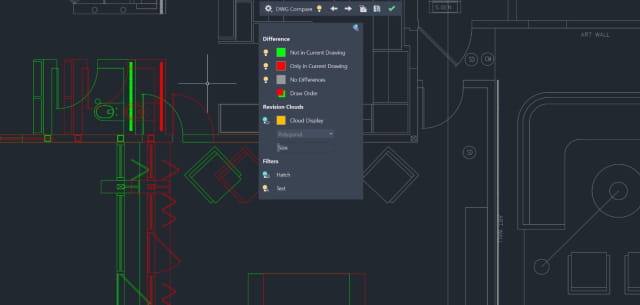 The DWG Compare feature in AutoCAD 2020. (Image courtesy of Autodesk.)