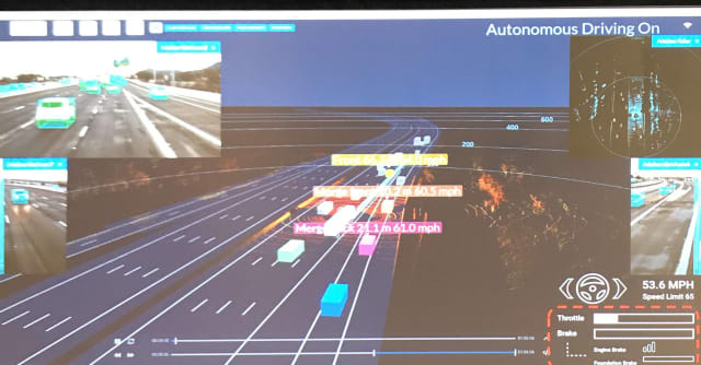 A vehicle merging onto the freeway is monitored, its behavior predicted, and the vehicle avoided by a TuSimple autonomous vehicle.This display is used for development of the AI system, but so it does not distract the driver, is not shown in the truck's cab. (Image from a TuSimple presentation at GTC19; courtesy of TuSimple.)