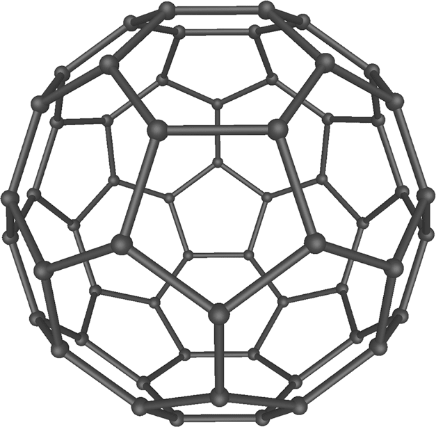 Buckminsterfullerene C60 contains 60 carbon atoms arranged into 20 hexagons and 12 pentagons (Image courtesy of Wikipedia.)