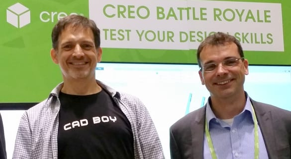 Figure 2.Crowned King Creo at Battle Royale, Jomichael Porter (left),the overall winner in the Creo modeling contest at LiveWorx 2017, with Paul Sagar, VP of Product Management (right).