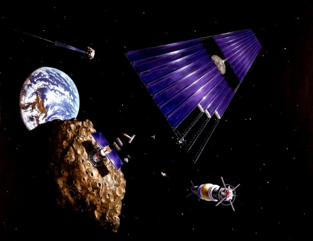 NASA illustration from 1977 showing asteroid mining on an Earth-approaching asteroid. (Image courtesy of NASA.)