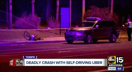 On March 19, 2018, an Uber self-driving car struck and killed Elaine Hertzberg in Tempe, Arizona. (Image courtesy of ABC15.)