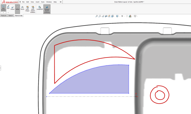 Touch-enabled screens allow using a finger or pen to draw shapes.(Image courtesy of Dassault Systèmes SolidWorks.)