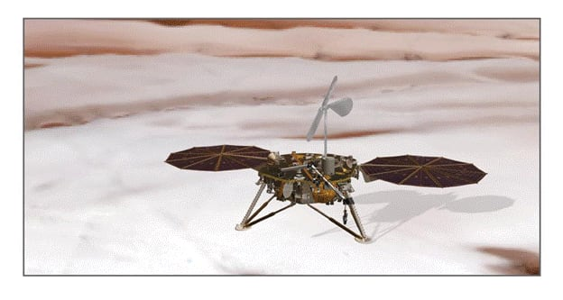 Illustration of the Planetary Turbine Anemometer (PTA) concept on the Mars' North polar ice cap. (Image courtesy of Don Banfield/Christ Eckert)