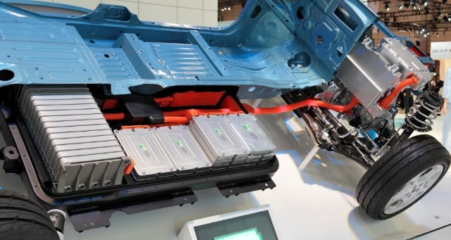Lithium-Ion battery pack in the Nissan Leaf. (Image courtesy of Wikipedia user Tennen-Gas.)