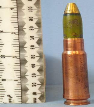 An HEI round like the one tested on the steel-CMF plate. (Image courtesy of Gunstar.)