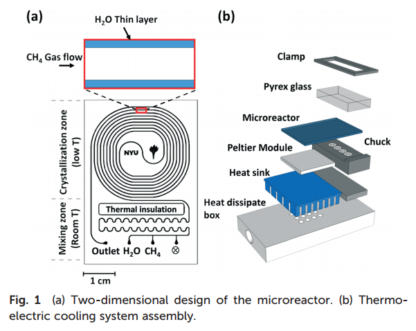 Figure 2. (a) 2D design of the microreactor; (b) thermo-electric cooling assembly. (Image courtesy of Lab on a Chip.)