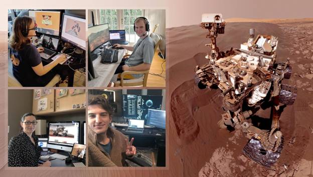 NASA's rover mission team on their first day working together from home. (Image courtesy of NASA/JPL-Caltech.)