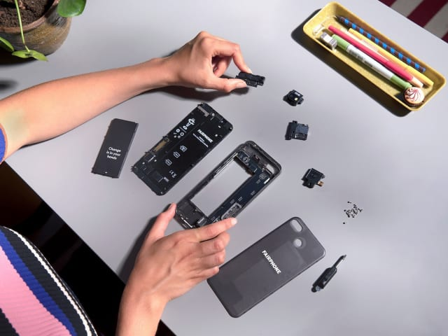 """The Fairphone features a modular architecture so that parts can be more easily repaired or replaced. Though """"right to repair"""" laws were killed in 20 U.S. states in 2018, they have passed in the EU and will take effect starting in 2021. (Image courtesy of Fairphone.)"""