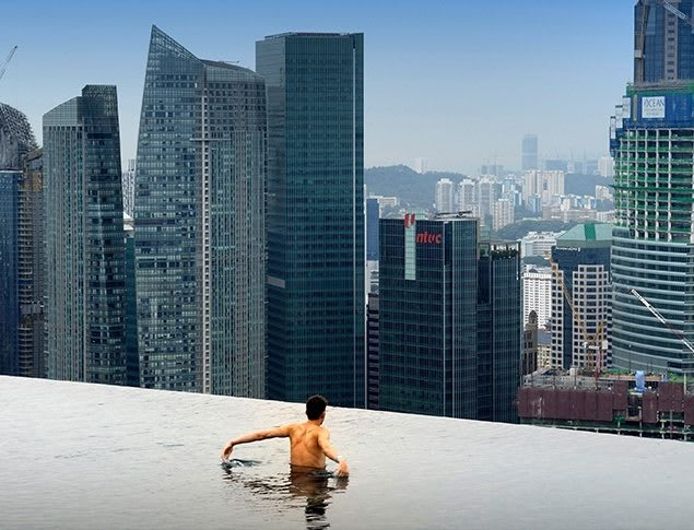 Close to the edge. The infinity pool at the 57th floor of the MBS in Singapore. (Image courtesy of Natare Corp.)