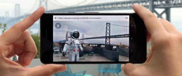 "If you want to move the model, you tap it and drag it where you want. To rotate it, drag with two fingers. According to the post, Google's developers have shown that ""clear interface cues are key to helping users learn how AR works."" (Image courtesy of Google.)"