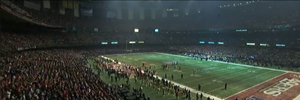 Picture from the partial power outage at Super Bowl XLVII, which delayed the game by 34 minutes. (Image courtesy of the NFL.)