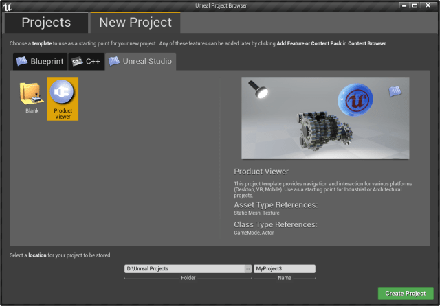 Figure 1. Unreal Editor Project Browser.