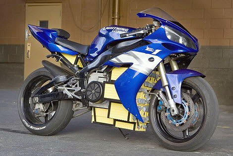 The electrified Yamaha R1 track bike.