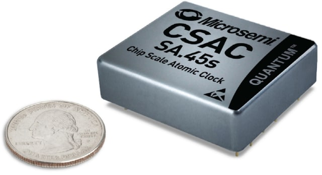 SA.45s atomic clock, with coin for comparison. (Image courtesy of Microsemi.)
