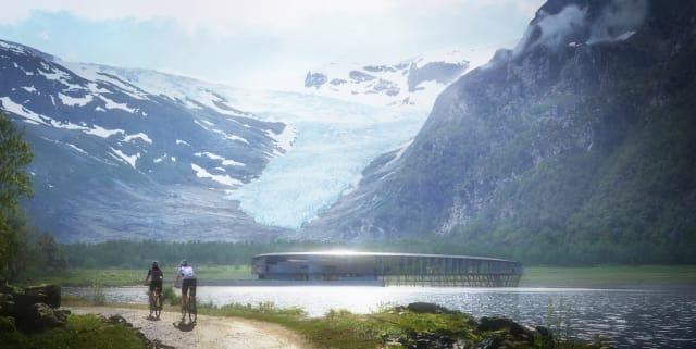 The exact shape of the hotel is designed so that solar panels receive the most amount of solar energy during the summer, while light is blocked from overheating the interior of the building. (Image courtesy of Snøhetta/Plompmozes.)