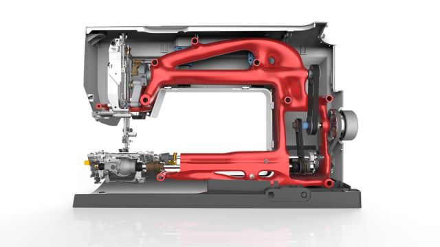 Here, Bernina's flagship B880 embroidery machine has been redesigned using ST10 with generative design. The internal structure has been optimized to reduce weight, and therefore cost. Such parts can sometimes only be produced with 3D printing, which is now easier to perform in ST10 as well. (Image courtesy of Siemens.)