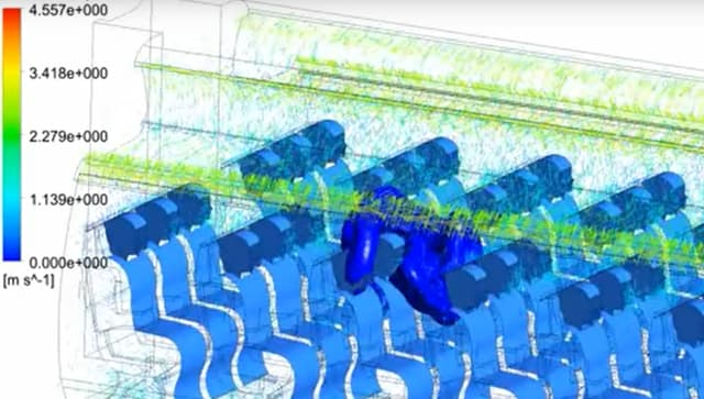 Click to watch a middle seat passenger sneezes, which is shown spreading to other seats in a CFD simulation. (Picture courtesy of ANSYS video.)