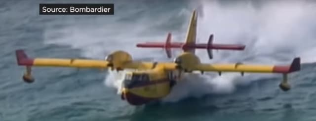Bombardier's SuperScooper skims a lake's surface at a hundred miles per hour, filling its tanks to deposit the water over a fire. (Image from a Bombardier video.)