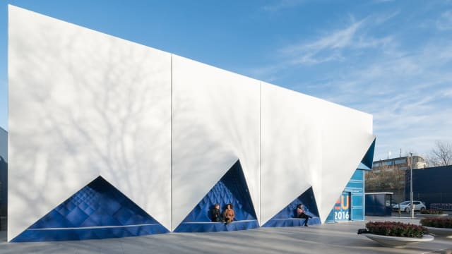 3D-printed façade created by DUS Architects for the temporary Europe Building for the EU. (Image courtesy of DUS Architects.)