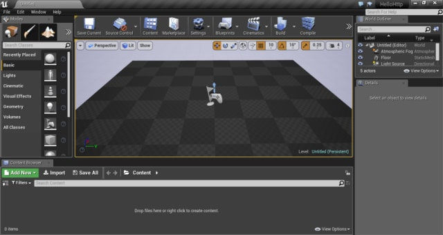 Figure 2.The Unreal Editor main screen and Viewport.