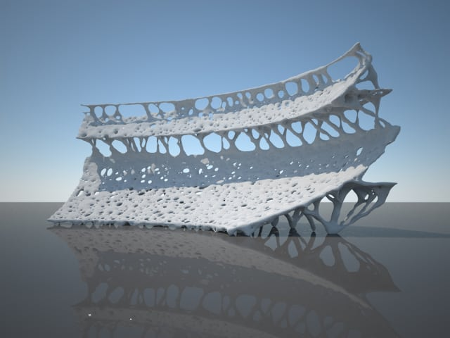 A stadium design inspired by nature and modeled using topology optimization. (Image courtesy of Altair.)