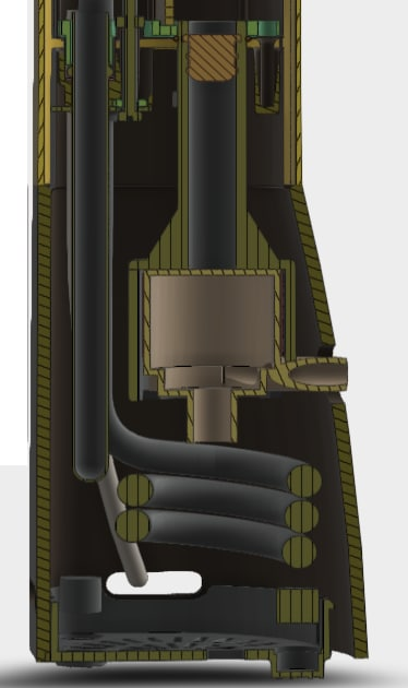 The Wave's pump and heating element. The mechanical design was created with SOLIDWORKS. The device's thermal and fluid analysis was made using ANSYS and COMSOL. While water circulation can remove the heat from the coil, the device had thermal issues with heat building up in other areas, heating the trapped air in two other sections and affecting the components on the PCB. Fluid flow around the coils was predicted with thermal and CFD software in the wet section. The air-filled sections were not modeled. (Image courtesy of Nise Tech.)