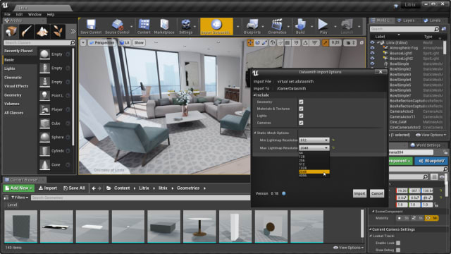 The import dialog in Unreal Studio working with interior design work created by Litrix. (Image courtesy of Epic Games.)