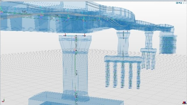 The static model of a bridge is generated from the geometric model so that an engineer can control which parts are load bearing and which are only loads. (Image courtesy of ALLPLAN Infrastructure.)