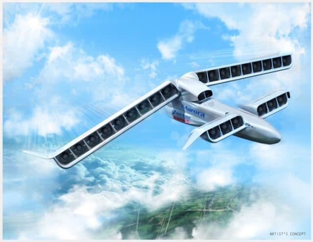 Innovative enough for you? An Aurora, Roll Royce and Honeywell project, called Vertical Strike for military application, is a vertical takeoff and landing aircraft with 24 hybrid-electric fans on wings that swivel. The project is funded by DARPA. (Image courtesy of Aurora Flight Sciences.)