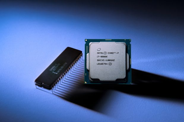 The Intel Core i7-8086K is and LE CPU with six cores that BOXX has overclocked to run at 5.0GHz each. Without special tweaking from BOXX, the CPU likely runs at 5.0GHz on just one core, bringing into question how much better it is than the Intel Core i7-8700 CPU across all six cores. (Image courtesy of Intel.)