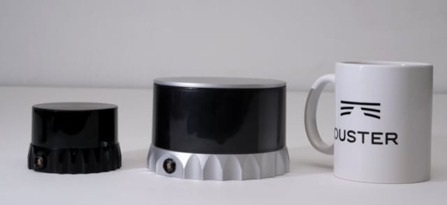 LiDAR units shrinking from Velodyne's coffee can (not shown) to a coffee cup, then smaller. (Image courtesy of Ouster.)