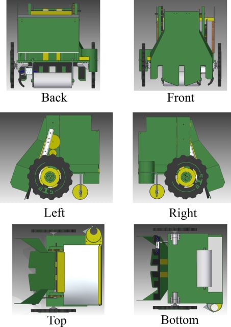 Orthographic views of the 2016 BEST Robot modeled in Sold Edge.