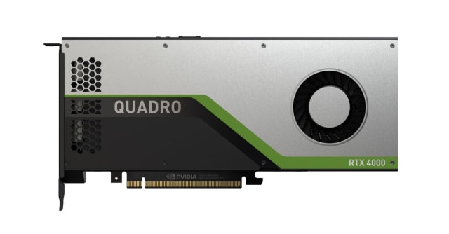 The Quadro RTX 4000 featuring 8GB of GDDR6 memory, 36 RT Cores, 288 Tensor Cores and 2,304 CUDA Cores makes it possible to perform real-time ray tracing. (Image courtesy of NVIDIA.)