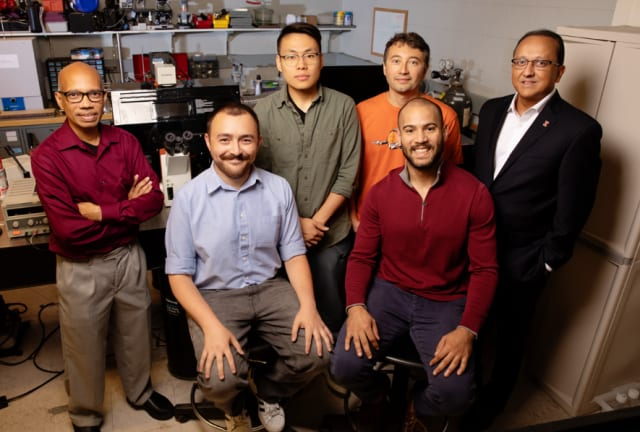 The biobot team: (from left) Professor Tahir Saif, graduate student Omar Aydin, graduate student Xiastian Zhang, Professor Mattia Gazzola, graduate student Gelson J. Pagan-Diaz, and Dean of Granger College of Engineering, Rashid Bashir.
