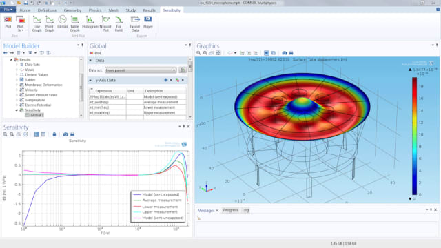 Figure 2. Setting up the thermal viscous acoustic model within a condenser microphone geometry. (Image courtesy of COMSOL.)