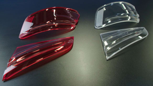 3D-printed taillight covers made by the J750. From the picture, it would be difficult to distinguish between the 3D-printed prototypes from the final component.