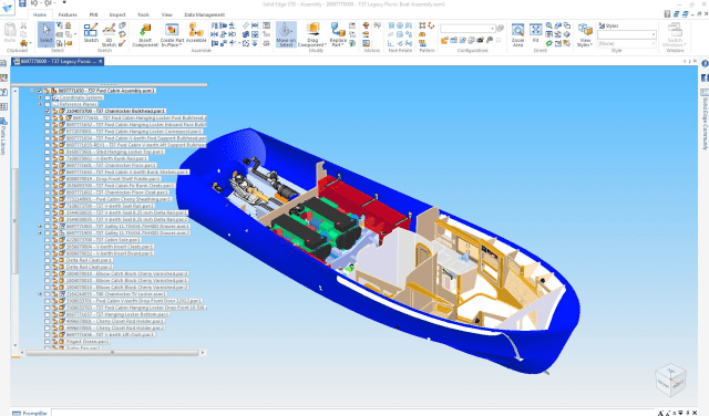 Figure 2a. Solid Edge allows Matt Barton to easily modify designs to meet customer's needs. Everything on this Picnic Boat 37 from the engines to the cabinetry can be adjusted.