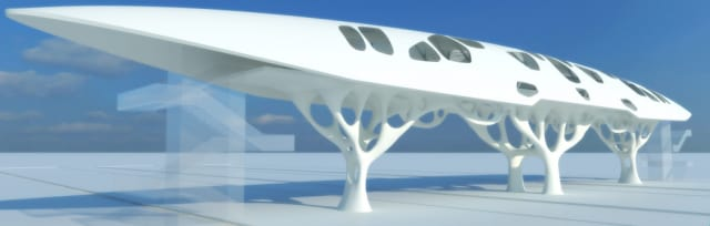Frattari 's concept walking bridge, dubbed Pegasus,is optimized using topology optimization. The marriage between nature and engineering, and design and performance, is unmistakable. This is true biomimicry. (Image courtesy of Altair.)