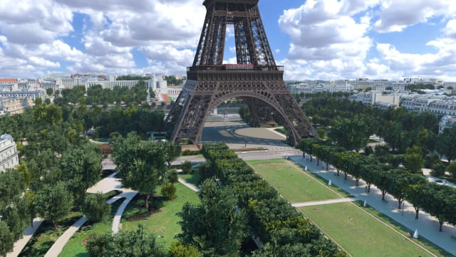 Because drones are not currently allowed to fly around the Eiffel Tower, Autodesk used a detailed model that was created and combined it with data, such as geographic information system data, aggregated in InfraWorks. The final rendering was created in 3ds Max. (Image courtesy of Autodesk.)