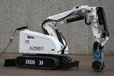 The Alpine RD220 Demolition Robot. Like most demolition robots, it takes the form of an autonomous excavator. and moves on rubber treads. (Image courtesy of CMSC.)