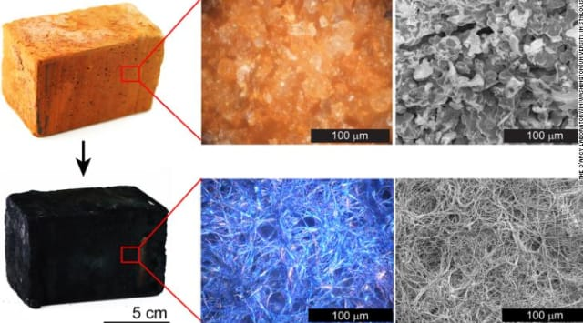 A standard brick pumped with various gases creates a nanofiber plastic coating that is able to conduct energy. Researchers at Washington University in St. Louis transformed a conventional brick into an energy storage device that can power an LED light. (Image courtesy of Washington University/D'Arcy Research Lab.)