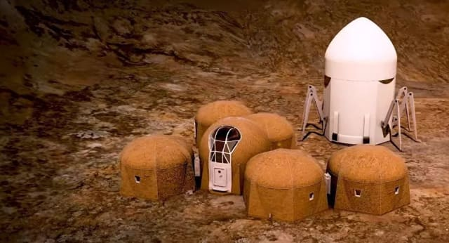 Houses designed by Zopherus, to be 3D printed and deposited by the roving lander, pictured at right. (Image courtesy of NASA.)