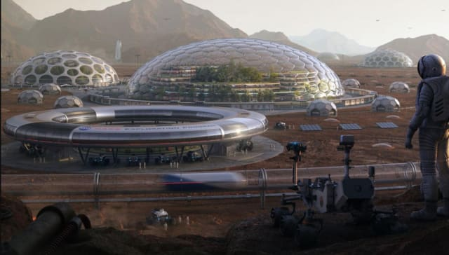 An HP Mars Home Planet finalist's rendering of what living on Mars might look like. (Image courtesy of HP.)