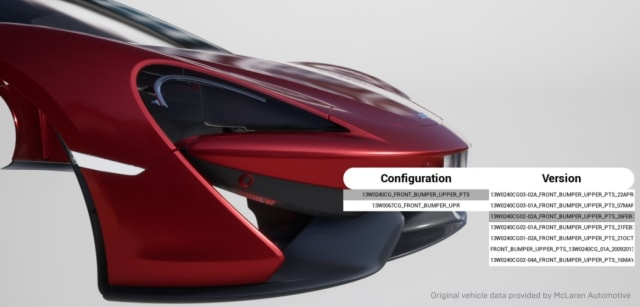 Figure 2. McLaren Configurator. (Image courtesy of Epic Games.)