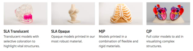 The various material options for 3D Systems' On Demand Anatomical Modeling Service. (Image courtesy of 3D Systems.)