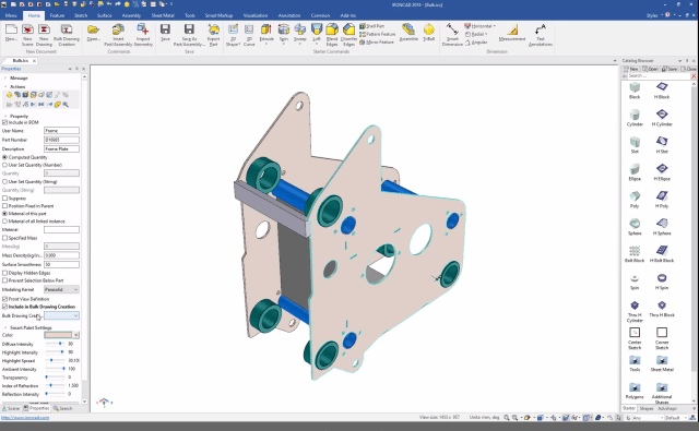 Setting a part to automatically include in bulk drawing creation. (Image courtesy of IronCAD.)